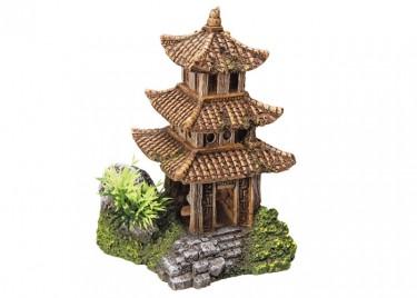 Akvárium dísz Ázsiai templom növénnyel
