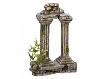 Akvárium dísz Antik tégla kapu növényekkel
