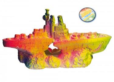 Akvárium dísz Csatahajó neon