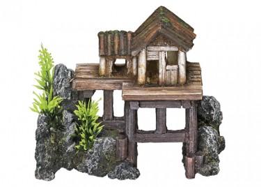 Akvárium dísz Faház