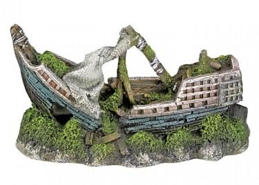 Akvárium dísz Hajó törött