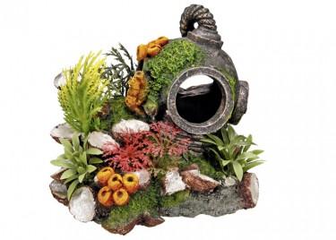 Akvárium dísz Sisak növénnyel