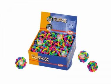 Macskajáték fonott színes gumi labda