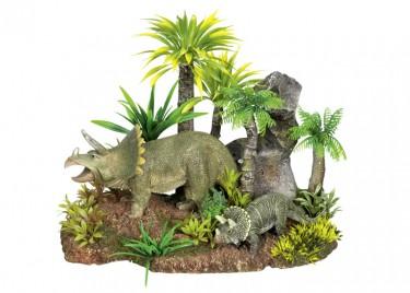 akváriumi dekor dinoszauruszok növénnyel