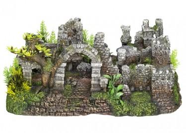 akváriumi dekor kastély-rom növénnyel
