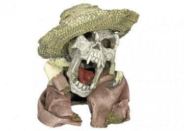 akváriumi dekor koponya kalappal
